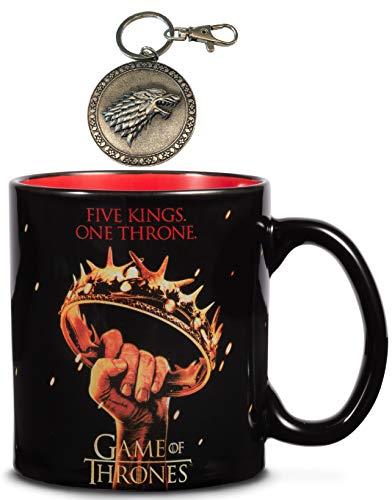 (Game of Thrones 20 oz Mug – Five Kings One Throne Ceramic Mug – plus a FREE Dire Wolf Stark Metal Keychain - Large Collectible Coffee Mug - Novelty GoT Coffee Cup by Rabbit Tanaka)