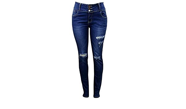 6661a195a98 Vinizbena Curve-fection! Push up Skinny Fit Ripped Denim Jeans (Dark Blue,  Size 5) at Amazon Women's Jeans store