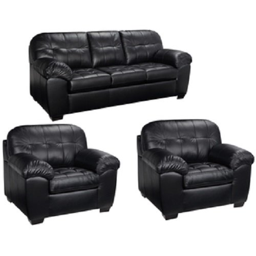 Contemporary Black Italian Leather Reading Sofa and Two Club Accent Chairs Living Room Furniture Set