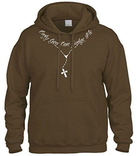 Cybertela Only God Can Judge Me Tattoo Necklace Sweatshirt Hoodie Hoody (Brown, 2X-large) ()