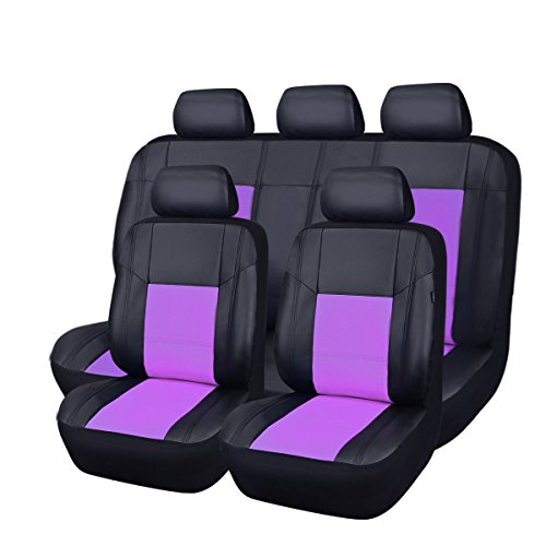 New arrival- car pass skyline PU leather car seat covers - universal fit for cars, SUV, vehicles (11pcs, black with purple) by CAR PASS