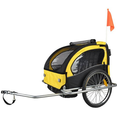 Remolque de bici para niños con kit de footing, color: amarillo/negro 502-03: Amazon.es: Bebé
