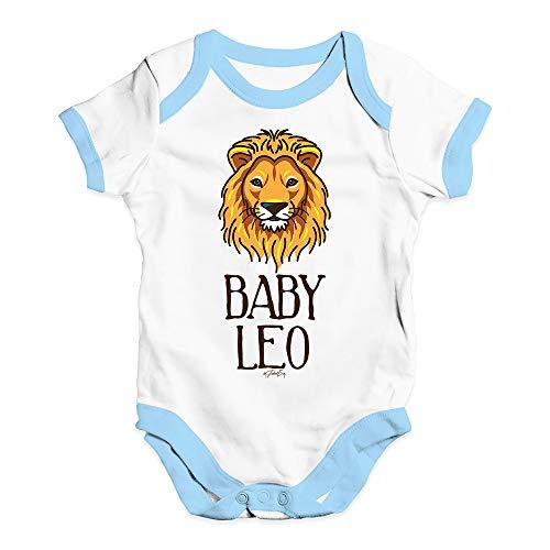 TWISTED ENVY Bodysuit Baby Romper Baby Leo White Blue Trim 12-18 Months