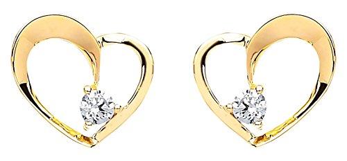 michic Premium Or jaune 9carats Cœur ouvert boucles d'oreilles clous avec détails