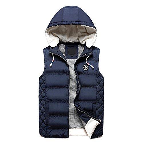 Beuniclo Men's Puffer Vest Active Gilet Padded Vest Men Sleeveless Jacket Removable Hooded Winter Outwear Jacket (Dark-Blue, S)