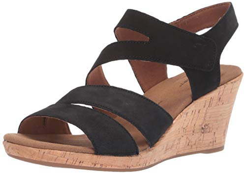 Rockport Women's Briah Asym Wedge Sandal, Black Nubuck, 5.5 M US ()