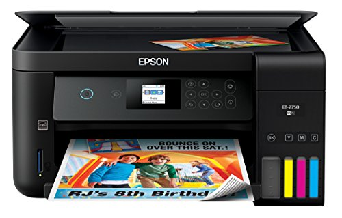 Epson Expression ET-2750 EcoTank Wireless Color All-in-One Supertank Printer with Scanner and Copier (Renewed)