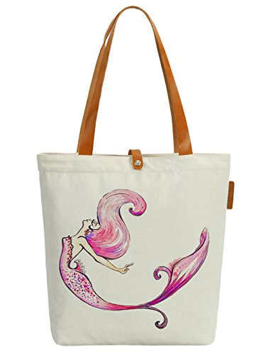 So'each Women's Colourful Mermaid Graphic Canvas Tote Shopper Shoulder Bag by So'each (Image #8)