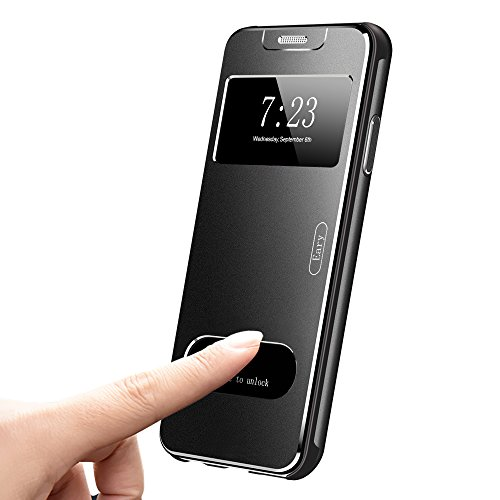 OATSBASF Compatible with iPhone X Flip Case, Metal Case [Support Wireless Charging] with View Window/Flip Cover/PC Bumper/Three-Layer 360 Full Protection Compatible with iPhone X (Black)
