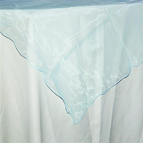 Firefly Imports Homeford Organza Table Cover with Overlay Ruffled Edge, Light Blue, 80-Inch