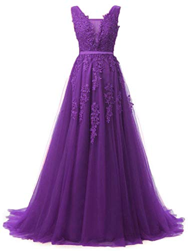 Girl's Bridesmaid Tulle Ball Gown Prom Dresses Long Evening Gowns Purple,Size 14