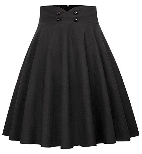 Belle Poque Women's Casual Short A-Line Skirt Solid Color Button Decorated Black Size L BP560-1