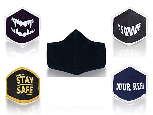 Grab Classy Breathable Reusable Mask Washable Masks Reusable cotton masks 160-180 GSM premium cotton RANDOM Color (Pack of 5) Large Price & Reviews