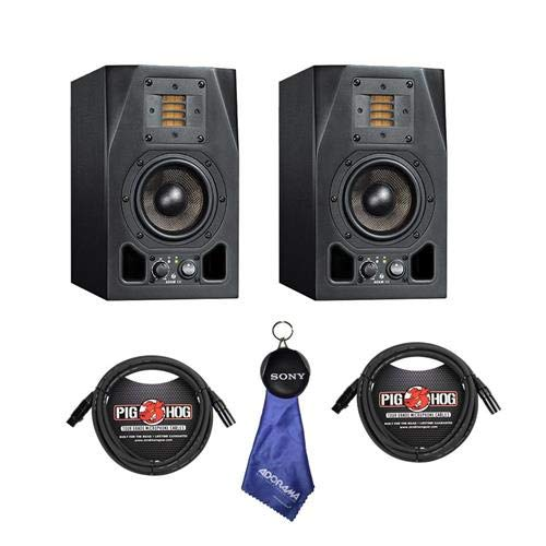 Adam Audio 2 pack A3X 4.5' 50W 2-Way Active Nearfield Monitor, Bundle With 2 Pack 15' 8mm XLR Microphone Cable, Fiber Optic Cleaning Cloth