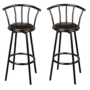 Black 30-inch Swivel Bar Stools (Set of 2) Casual Modern Contemporary Faux Leather Metal Finish Footrest
