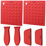HOMKOM - 6 Pack Silicone Hot Handle Pot Holder Silicone Mat Silicone Pad For Cast Iron Skillets-Red