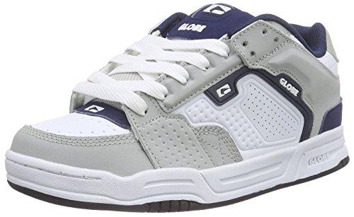 Globe Scribe Blanco Navy Gris Cuero Hombres Zapatos Skate