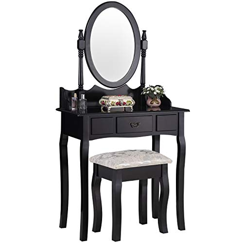 Mecor Vanity Table Set with Drawer/Oval Mirror Makeup Dressing Table and Cushioned Stool,Black by Mecor