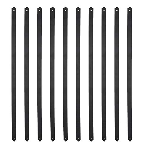 Myard 29-1/2 Inches Heavy Duty Flat Straight Iron Balusters with Screws for Wood Composite Facemount Deck Railing (25-Pack, Matte Black) (Deck Railings Composite)