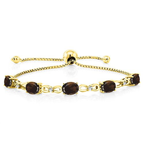 3.75 Ct Oval Brown Smoky Quartz 18K Yellow Gold Plated Silver Diamond Bracelet (Box Jewelry Quartz Smoky Silver)