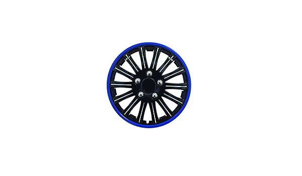 4 tapacubos para Nissan Micra, 14 pulgadas, color negro con borde de color azul: Amazon.es: Coche y moto