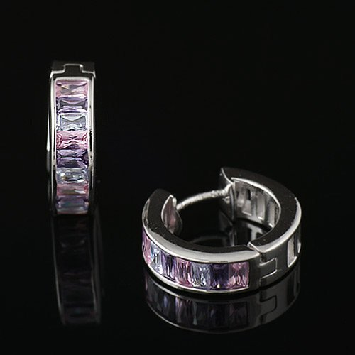 925 Sterling Silver Swarovski Crystal Pink Purple Lavender Hoop Huggie Earrings