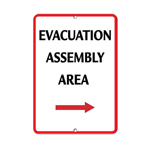 Evacuation Assembly - Evacuation Assembly Area Security Sign Aluminum METAL Sign 12 in x 18 in