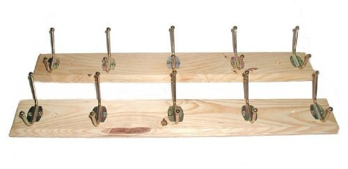 Set Of 2 Wooden Hat and Coat Wall Racks - Brand New (Factory Blems) 10 Polished Brass Finish Swivel Hooks