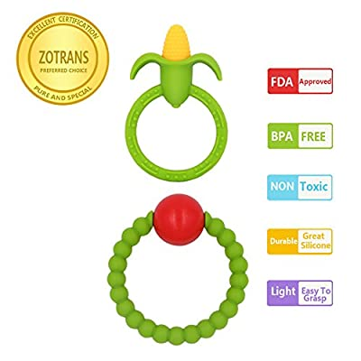 Baby Teething Rings - Infant Rattles and Corn Teether Toys by Zotrans,100% BPA Free Safe Soft and Chewable Bracelet for Baby Gums to Soothing Pain (Set of 2 Pcs)