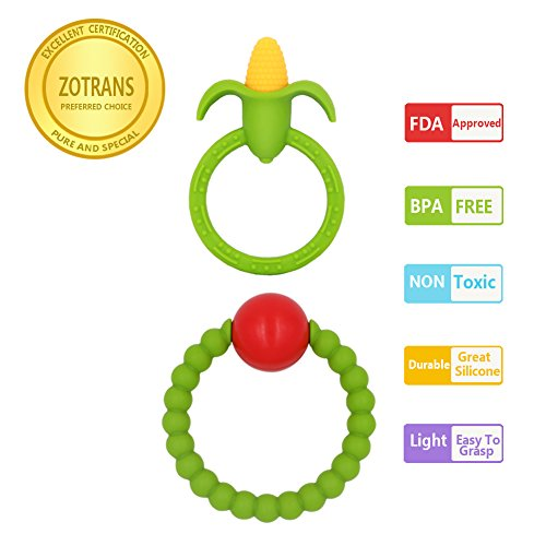 Baby Teething Toys - Infant Rattles and Corn Teether Ring by Zotrans,100% BPA Free Safe Soft and Chewable Bracelet for Baby Gums to Soothing Pain (Set of 2 Pcs) … (Rattle Ring Teether)