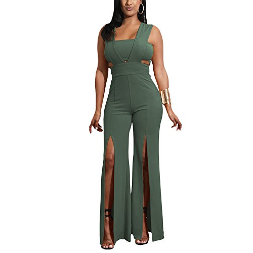 Aro Lora Women's Sexy Outfit Sleeveless Strapless Crop Top + Slit Long Wide Leg Pant Jumpsuit Romper Large Army (Army Outfits For Womens)