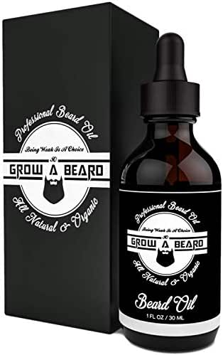 Grow A Beard Oil - Unscented Organic Argan & Jojoba - Add Shine & Style In Your Beard - Smooth Shape And Moisturize - Relieves Itching for Strong & Healthy Beard - Vegan Friendly For All Beards – 1oz