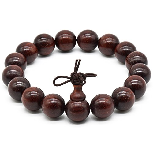 [Rel Goods Unisex Natural Zambia Blood Sandalwood Beads Necklace Mala Thuja Handmade Red Wood Prayer Bead Tibetan Buddhism Special Wristband Bracelet (12mmx17)] (Couples Halloween Costumes Pinterest)
