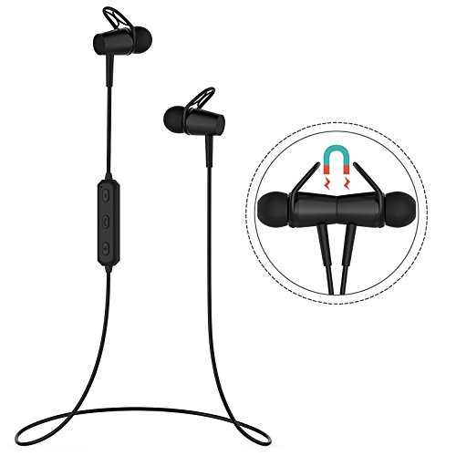 Bluetooth Headphones, Bluetooth 4.2 Wireless Sports Earbuds with Mic, Magnetic In-Ear Earphones for Running by...