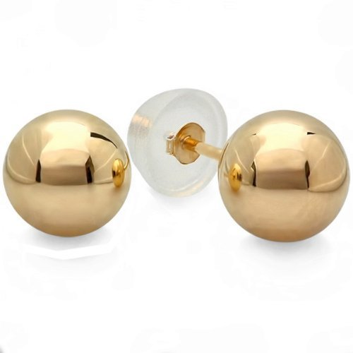 (Dazzlingrock Collection 14k Ball 10mm Stud Earrings with Silicone covered Gold Pushbacks, Yellow Gold)