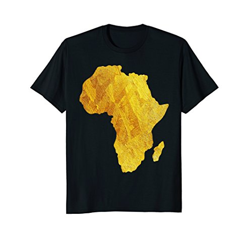 Africa T-Shirt Proud African Graphic Gold Foil Tees Country by Africa T-Shirt