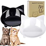 Cat Bowls Food and Water Bowls Set of 2 Cat Dishes Shallow and Wide for Whisker Fatigue Stress Relief Cute Design Non Skid Feeding Bowls for Cats and Small Dogs