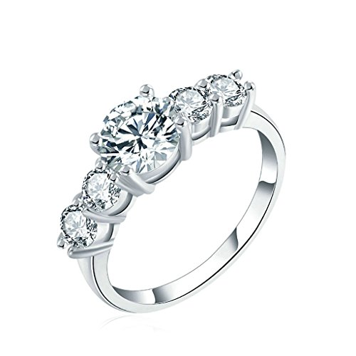Epinki Womens Anniversary Ring Round Cubic Zirconia Five Stone Silver Size 6 Ring