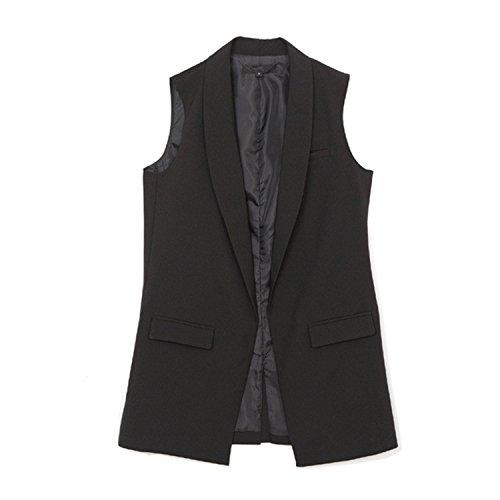 Caseminsto Women Fashion Elegant Office Lady Pocket Coat Sleeveless Vests Jacket Outwear Casual Brand Black M by Caseminsto (Image #1)