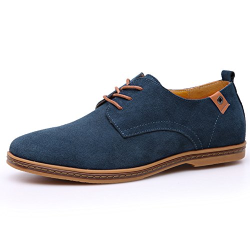 DeLamode Men's Dichotomanthes Genuine Leather Casual Shoelace Shoes Blue (2 Man Camel Costume)