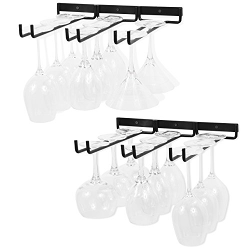 WALLNITURE Stemware Wine Glass Rack Wall Mountable Wrought Iron 3 Rows Black 13 Inch Deep Set of 2 by Wallniture