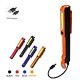 Three trees Rechargeable Mechanic Inspection Light Hand Portable Pocket COB Floodlight Super Bright Flashlight Torch with Magnetic Clip USB Charging Cable Rechargeable Inspection Light (orange)