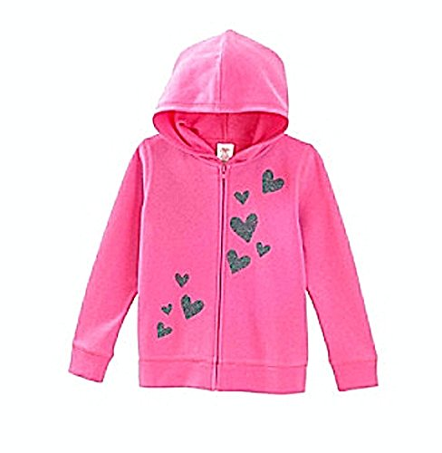 Little Miss Attitude Girls Zippered Hoodie Jacket - Pink Hearts (2T) ()