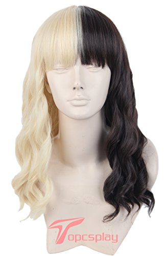Black And Blonde Wig (Topcosplay Women's Wig Long Curly Cosplay Wigs Half Blonde and Black Brown)