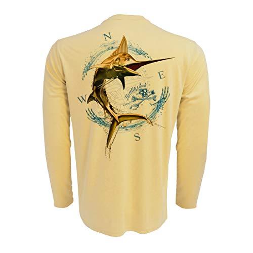(Rattlin Jack Men's UPF Sun Protection Fishing Shirts Gold Marlin L Yellow)