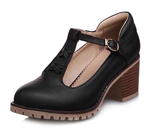 Aisun Womens Sweet Rounde Fibbia Abito Impilato Tacco Medio Pompe Scarpe Con Cinturini Alla Caviglia Nero 1