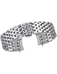 22mm High-End Silver Watch Bands Solid Inox Steel with Butterfly Clasp and Removable Links Engineer Style
