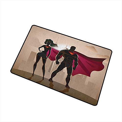 Wang Hai Chuan Superhero Universal Door mat Super Woman and Man Heroes in City Solving Crime Hot Couple in Costume Door mat Floor Decoration W15.7 x L23.6 Inch Beige Brown Magenta -