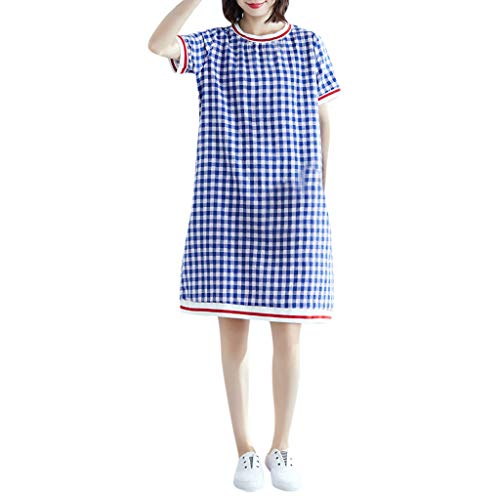 (Vintage Summer Casual Cute Women Plaid Short Sleeve Knee Length Loose Hem Dress Blue)