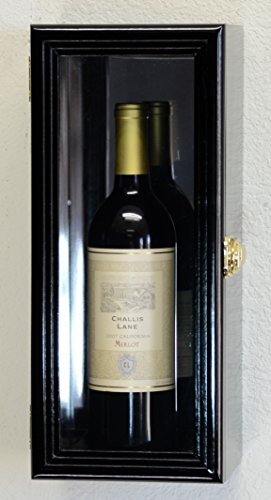 Wine Bottle Case (Single Wine Bottle Wall Display Case Cabinet Holder with Mirror Back Holds Bordeux Cabernet Burgundy Pinot Champagne Magnum Bottles (Black Finish))